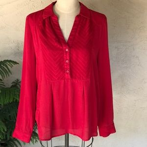 Anthropologie embroidered partial button front top